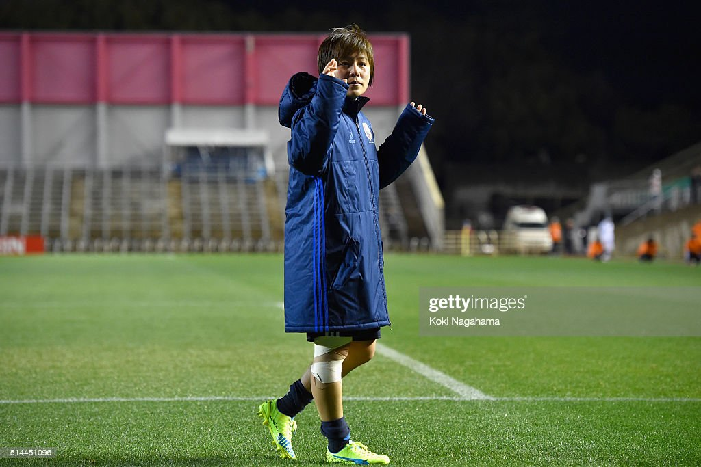 Mana Iwabuchi of Japan applauds supporters after the AFC Women's Olympic Final Qualification Round match between Japan and North Korea at Kincho Stadium on March 9, 2016 in Osaka, Japan.