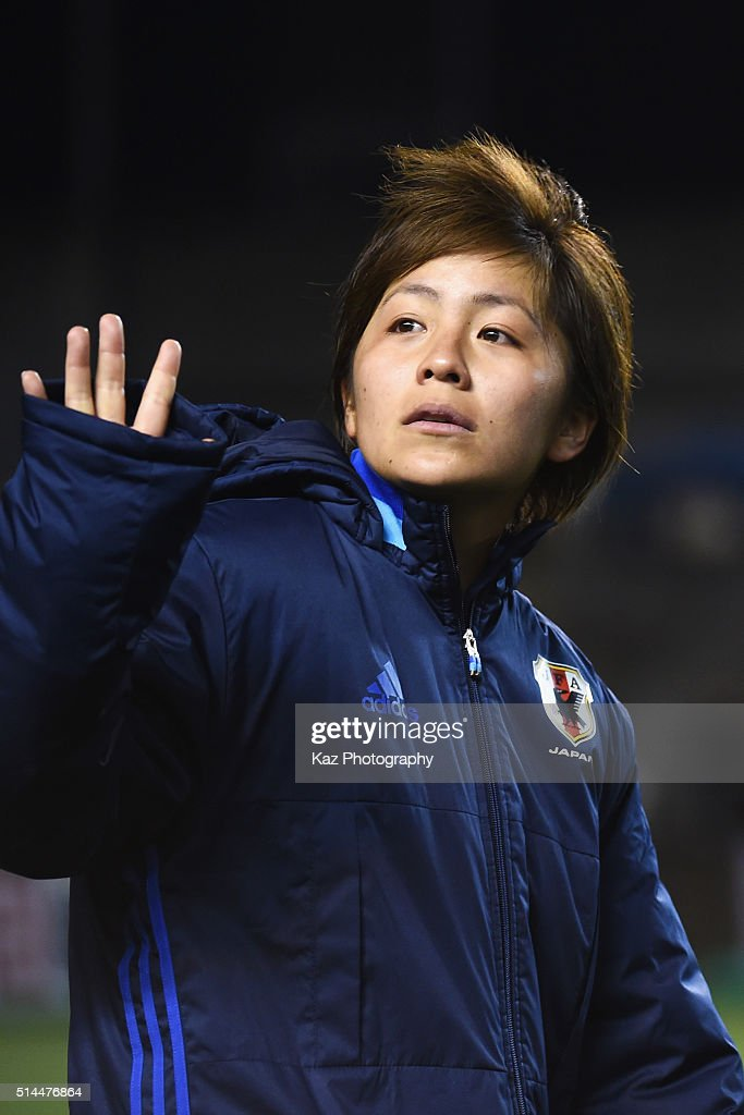 Mana Iwabuchi of Japan applauds the supporters after the AFC Women's Olympic Final Qualification Round match between Japan and North Korea at Kincho Stadium on March 9, 2016 in Osaka, Japan.