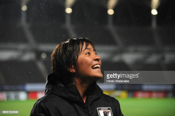 Mana Iwabuchi of Japan celebrates her side's 32 victory in the EAFF E1 Women's Football Championship between Japan and South Korea at Fukuda Denshi...