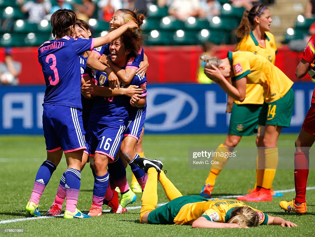 Mana Iwabuchi #16 of Japan celebrates scoring a goal against Australia during the FIFA Women's World Cup Canada 2015 Quarter Final match between Australia and Japan at Commonwealth Stadium on June 27, 2015 in Edmonton, Canada.