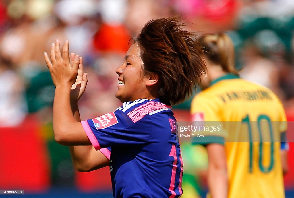 Mana Iwabuchi #16 of Japan celebrates scoring the first goal against Australia during the FIFA Women's World Cup Canada 2015 Quarter Final match between Australia and Japan at Commonwealth Stadium on June 27, 2015 in Edmonton, Canada.
