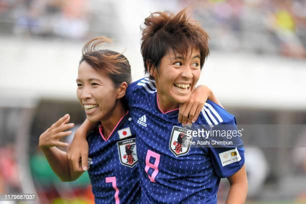 Mana Iwabuchi of Japan celebrates scoring the opening goal with her team mate Emi Nakajima during the international friendly match between Japan and...