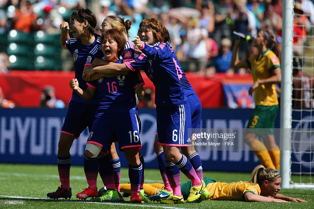 Mana Iwabuchi #16 of Japan celebrates with teammates after scoring a goal during the FIFA Women's World Cup Canada 2015 quarter final match between Japan and Australia at Commonwealth Stadium on June 27, 2015 in Edmonton, Alberta, Canada.