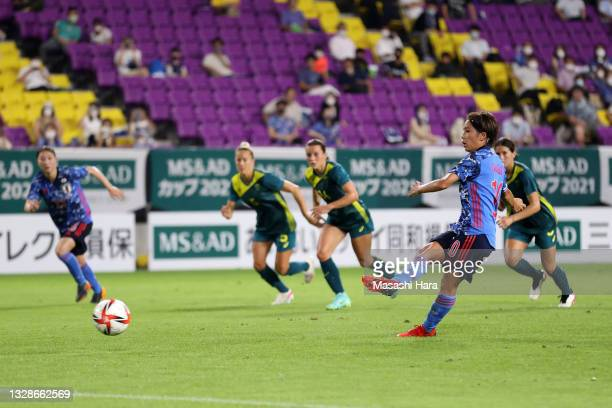 Mana Iwabuchi of Japan converts the penalty to score her side's first goal during the women's international friendly match between Japan and...