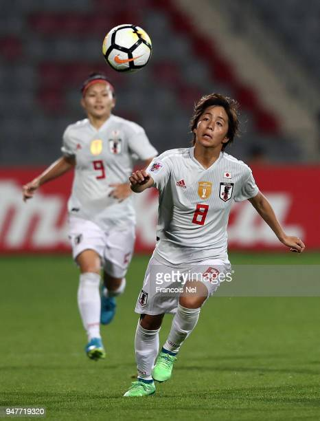 Mana Iwabuchi of Japan in action during the AFC Women's Asian Cup semi final match between China and Japan at the King Abdullah II Stadium on April...