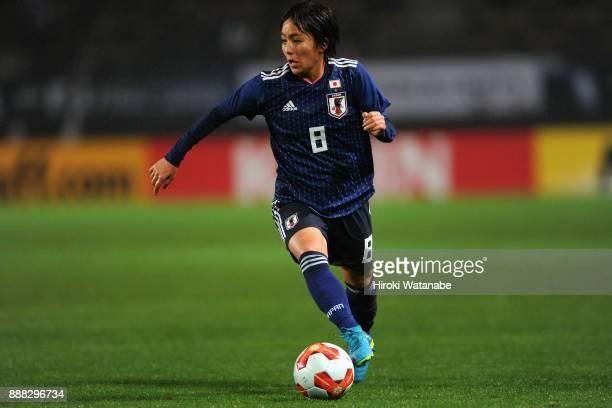 Mana Iwabuchi of Japan in action during the EAFF E1 Women's Football Championship between Japan and South Korea at Fukuda Denshi Arena on December 8...