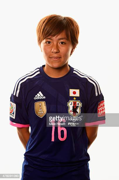 Mana Iwabuchi of Japan poses for a portrait during the official Japan portrait session ahead of the FIFA Women's World Cup 2015 at the Sheraton Wall...