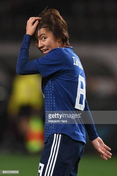 Mana Iwabuchi of Japan reacts during the EAFF E1 Women's Football Championship between Japan and China at Fukuda Denshi Arena on December 11 2017 in...