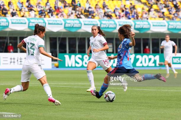 Mana Iwabuchi of Japan scores her side's first goal during the women's international friendly match between Japan and Mexico at Kanseki Stadium...