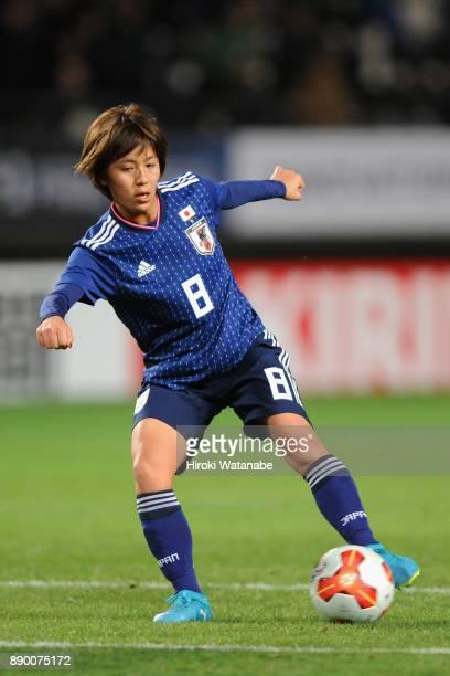 Mana Iwabuchi of Japan shoots at goal during the EAFF E1 Women's Football Championship between Japan and China at Fukuda Denshi Arena on December 11...