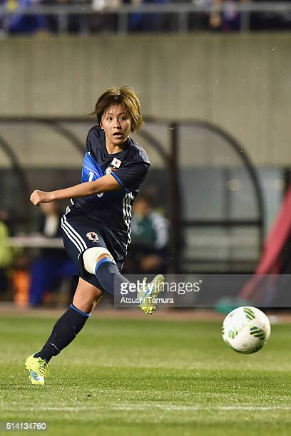 Mana Iwabuchi of Japan shoots during the AFC Women's Olympic Final Qualification Round match between Vietnam and Japan at Kincho Stadium on March 7...