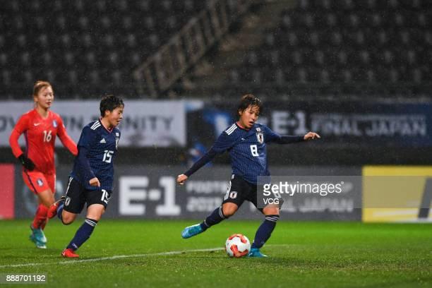 Mana Iwabuchi of Japan shoots the ball during the EAFF E1 Women's Football Championship between Japan and South Korea at Fukuda Denshi Arena on...