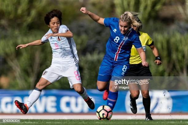 Mana Iwabuchi of Japan women Andrea Mist Pálsdóttir of Iceland women during the Algarve Cup 2018 match between Japan and Iceland at the Estadio...