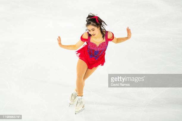Mana Kawabe of Japan competes in the Figure Skating Women Single Skating Short Program during day 2 of the Lausanne 2020 Winter Youth Olympics during...