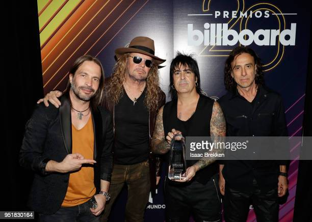Mana poses with an award in the press room at the 2018 Billboard Latin Music Awards at the Mandalay Bay Events Center on April 26 2018 in Las Vegas...