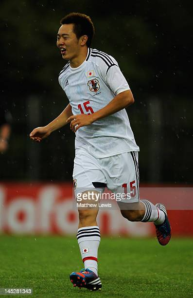 Manabu Saito of Japan celebrates his goal during the Toulon Tournament Group A match between Japan and Netherlands at Stade de L'Esterel on May 25...