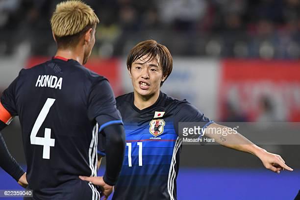 Manabu Saito of Japan looks on during the international friendly match between Japan and Oman at Kashima Soccer Stadium on November 11, 2016 in...