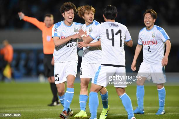 Manabu Saito of Kawasaki Frontale celebrates scoring his team's first goal during the AFC Champions League Group H match between Kawasaki Frontale...