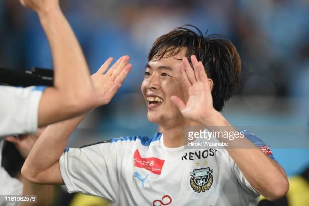 Manabu Saito of Kawasaki Frontale celebrates scoring his team's scond goal during the J.League J1 match between FC Tokyo and Kawasaki Frontale at...
