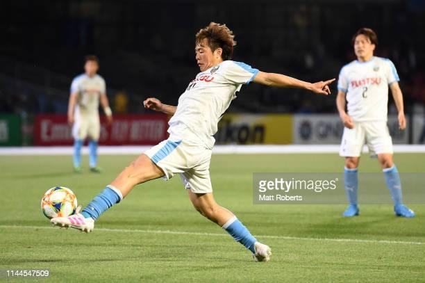 Manabu Saito of Kawasaki Frontale competes for the ball during the AFC Champions League Group H match Kawasaki Frontale and Ulsan Hyundai at Todoroki...