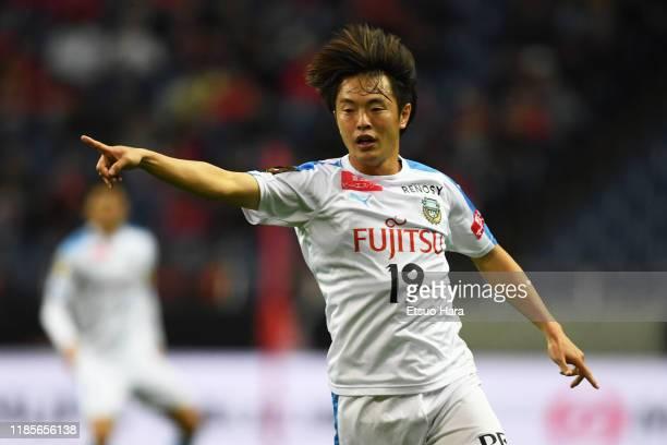 Manabu Saito of Kawasaki Frontale gestures during the J.League J1 match between Urawa Red Diamonds and Kawasaki Frontale at Saitama Stadium on...
