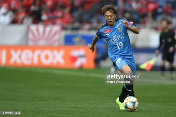 Manabu Saito of Kawasaki Frontale in action during the Fuji Xerox Super Cup between Kawasaki Frontale and Urawa Red Diamonds at Saitama Stadium on...