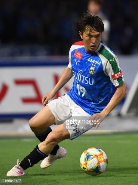 Manabu Saito of Kawasaki Frontale in action during the J.League J1 match between Kawasaki Frontale and Matsumoto Yamaga at Todoroki Stadium on August...