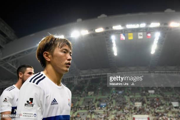 Manabu Saito of Yokohama FMarinos leaves the pitch after the scoreless draw in the JLeague match between Vissel Kobe and Yokohama FMarinos at Noevir...
