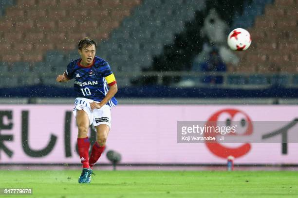Manabu Saito of Yokohama FMarinos scores the opening goal during the JLeague J1 match between Yokohama FMarinos and Kashiwa Reysol at Nissan Stadium...