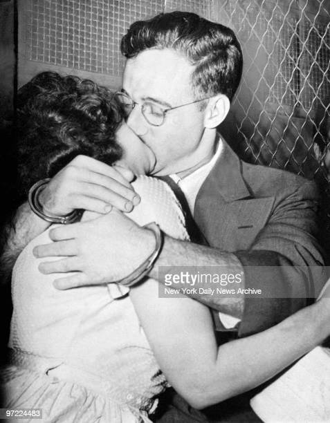 A manacled Julius Rosenberg and his wife Ethel embrace outside of the US Court House in Foley Square after being found guilty of espionage