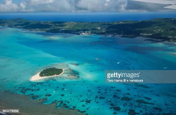 Managaha Island and Micro Beach in Saipan daytime aerial view from airplane