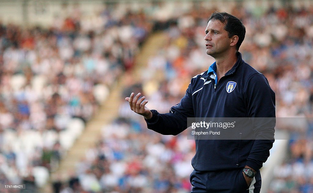 Manage Joe Dunne of Colchester United during a pre season friendly match between Colchester United and Tottenham Hotspur at the Colchester Community Stadium on July 19, 2013 in Colchester, England.