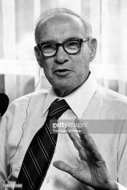 Management consultant Peter Drucker speaks during the Asahi Shimbun interview on June 18 1980 in Tokyo Japan