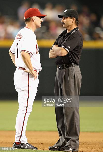 Manager A J Hinch of the Arizona Diamondbacks argues a call with umpire Bill Hohn during the game against the Washington Nationals at Chase Field on...
