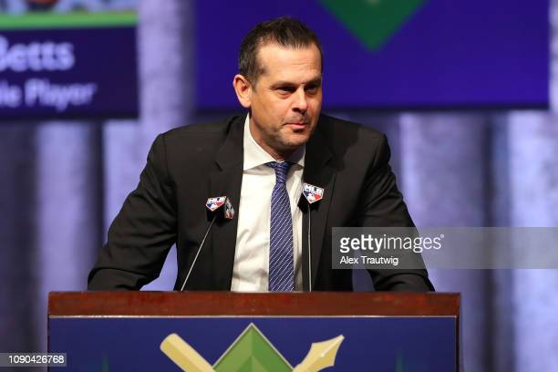 Manager Aaron Boone introduces Brian Cashman General Manager of the New York Yankees and winner of the Joan Payson/Shannon Forde Community Service...