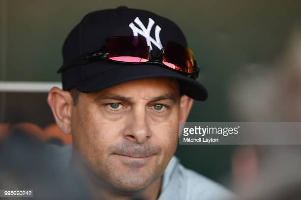 Manager Aaron Boone of the New York Yankees address the media before a baseball game against the Baltimore Orioles at Oriole Park at Camden Yards on...
