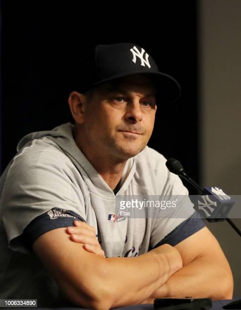 Manager Aaron Boone of the New York Yankees answers questions during a press conference before the game against the Kansas City Royals at Yankee...