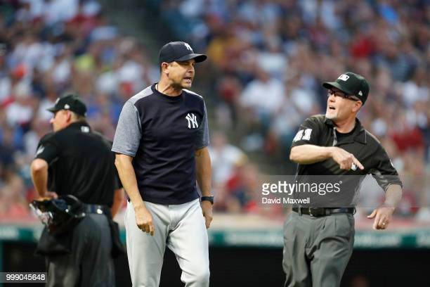 Manager Aaron Boone of the New York Yankees is ejected from the game by First Base Umpire Jerry Meals while arguing that Giancarlo Stanton was hit by...