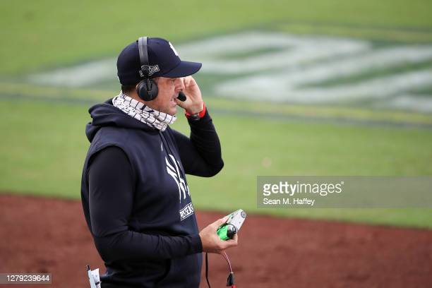 Manager Aaron Boone of the New York Yankees is interviewed in between innings against the Tampa Bay Rays in Game Four of the American League Division...