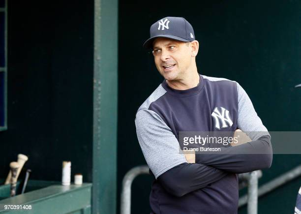 Manager Aaron Boone of the New York Yankees looks on before game two of a doubleheader against the Detroit Tigers at Comerica Park on June 4 2018 in...