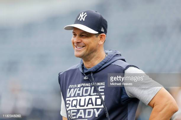Manager Aaron Boone of the New York Yankees looks on prior to the Grapefruit League spring training game against the Philadelphia Phillies at...