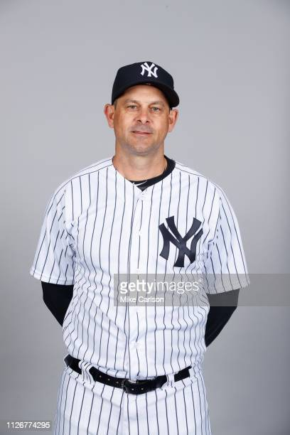 Manager Aaron Boone of the New York Yankees poses during Photo Day on Thursday February 21 2019 at George M Steinbrenner Field in Tampa Florida