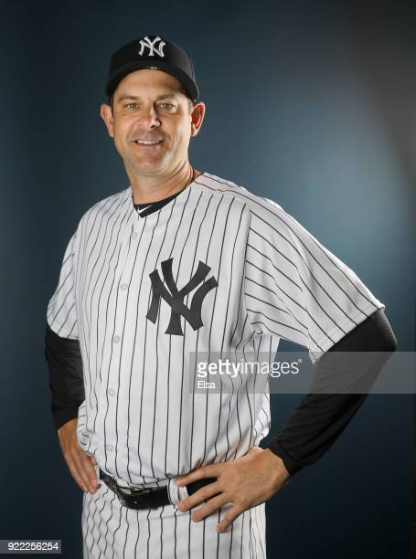 Manager Aaron Boone of the New York Yankees poses for a portrait during the New York Yankees photo day on February 21 2018 at George M Steinbrenner...