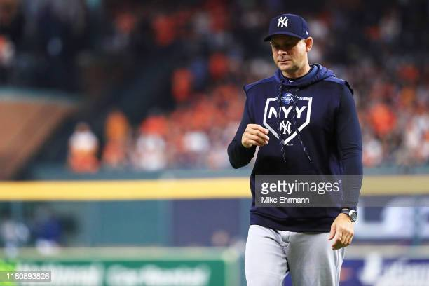 Manager Aaron Boone of the New York Yankees reacts during the fifth inning against the Houston Astros in game two of the American League Championship...