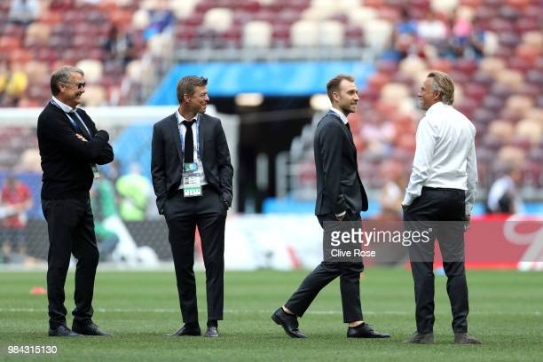 Manager Age Hareide assistant manager John Dahl Tomasson and Christian Eriksen attend the pitch inspection prior to the 2018 FIFA World Cup Russia...