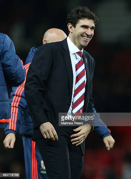 Manager Aitor Karanka of Middlesbrough celebrates after the Capital One Fourth Round match between Manchester United and Middlesbrough at Old...