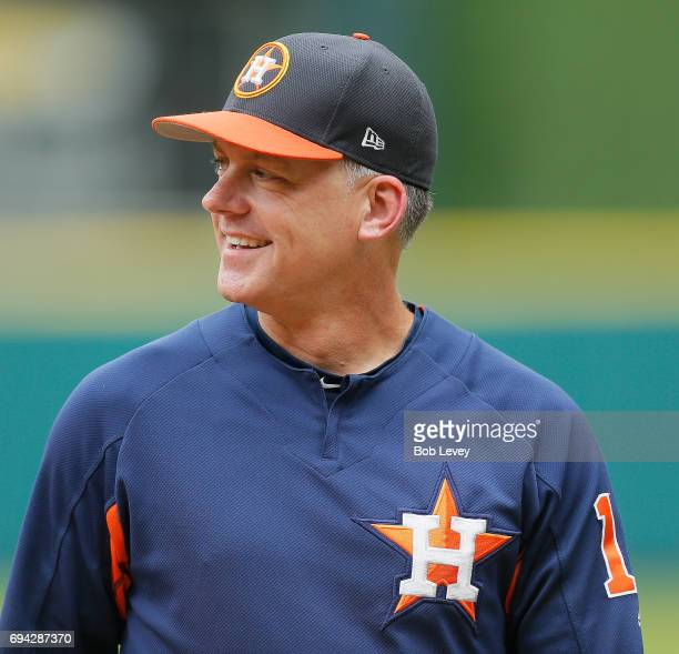 Manager AJ Hinch during batting practice before the game against the Los Angeles Angels of Anaheim at Minute Maid Park on June 9 2017 in Houston Texas