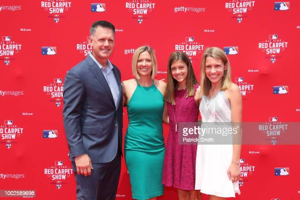 Manager AJ Hinch of the Houston Astros and guests attend the 89th MLB AllStar Game presented by MasterCard red carpet at Nationals Park on July 17...