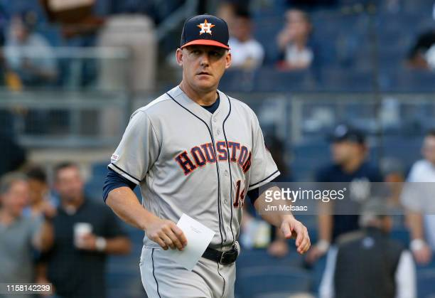 Manager AJ Hinch of the Houston Astros before a game against the New York Yankees at Yankee Stadium on June 20 2019 in New York City The Yankees...