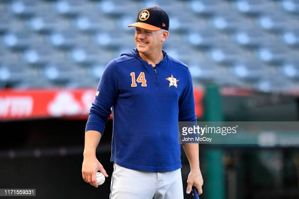 Manager AJ Hinch of the Houston Astros during batting practice before a game against the Los Angeles Angels at Angel Stadium of Anaheim on September...
